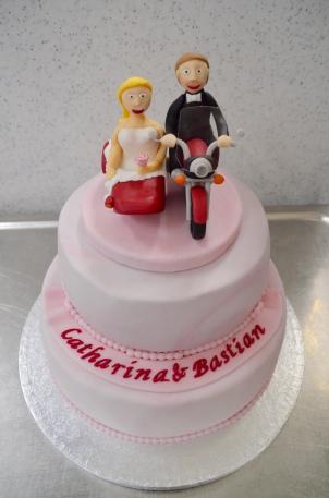 Motorrad-Hochzeitstorte